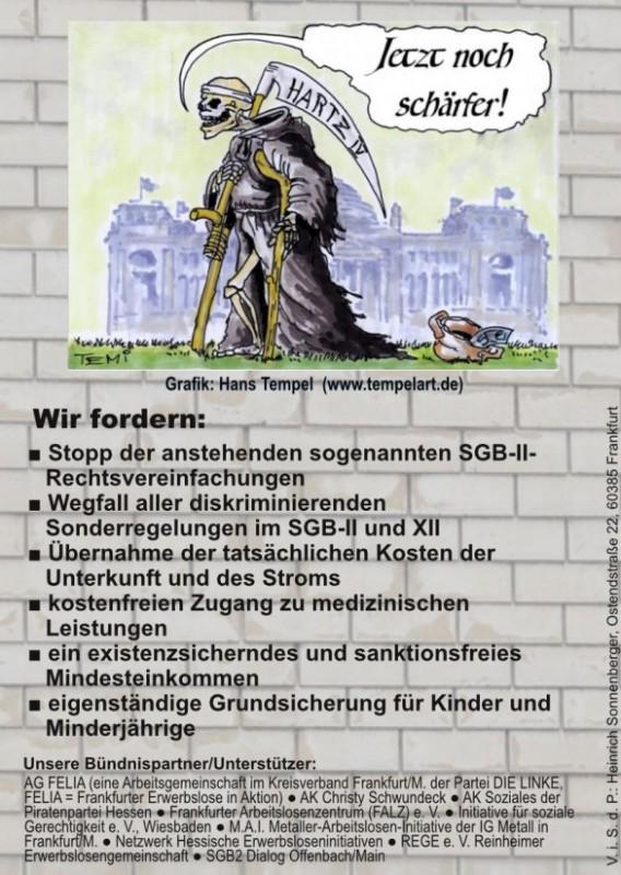 Mobilisierungsplakat: Straßenfest gegen Hartz IV.